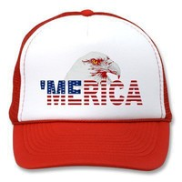'MERICA American Bald Eagle US Flag Trucker Hat from Zazzle.com