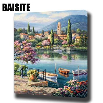 BAISITE DIY Framed Oil Painting By Numbers Landscape Pictures Canvas Painting For Living Room Wall Art Home Decor E762