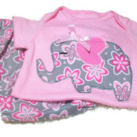 Baby Girl Diaper Cover Set, Girls Elephant Outfit, Pink Elephant,Baby Girl Fashion, 3 - 6 Month Baby Girl, Baby Girl Gift, Pink and gray