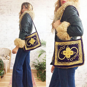 Vintage 1960's PURPLE HAZE Velvet Woodstock Afghan Purse With Mirror Work  || Boho Hippie Gypsy || Crossbody Satchel Bag