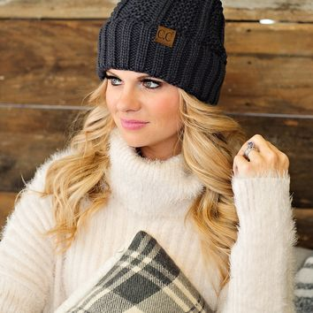 * Fur Lined C.C. Cable Knit Pom Beanie - Charcoal