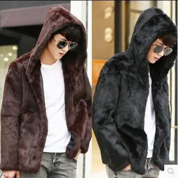 Hooded winter thicken warm mens leather jacket faux fur leather coat men slim rabbit hair jackets fashion black brown korean