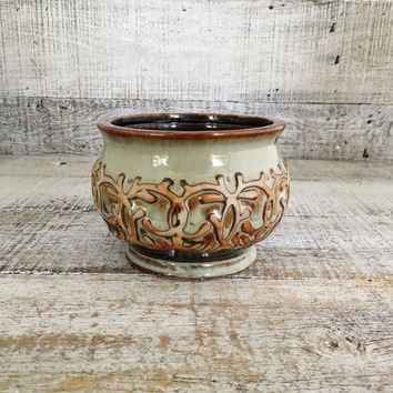 Planter Mid Century Planter Earthenware Pottery Small Planter Flower Vase Vintage Ceramic Vase Ceramic Flower Pot Cottage Chic Gift