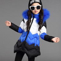 Hot Sale 2016 Baby Girls Winter Coat Children Stripe Jacket Kids WARM Thick Cotton-padded Coat Windproof Outdoor Parka Outerwear