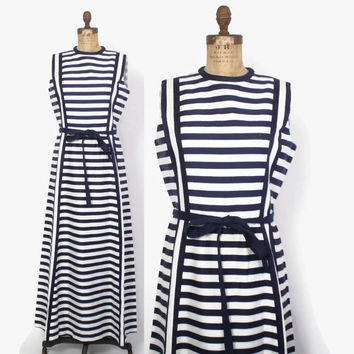 Vintage 60s Striped DRESS / 1960s Navy Blue & White Striped Tori Richard Maxi Dress L