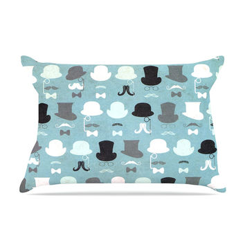 "Heidi Jennings ""Hats Off To You"" Blue Gray Pillow Case"