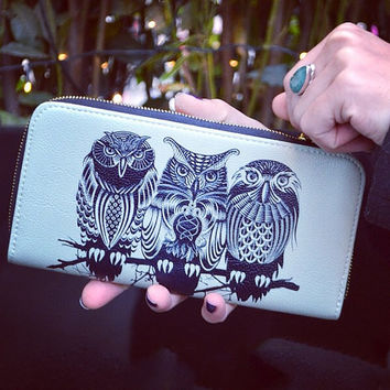 "Artist Designed Purse with credit card and zipper coin compartment ""Owls of the Nile"" stylish, unique, colourful vegan leather purse"
