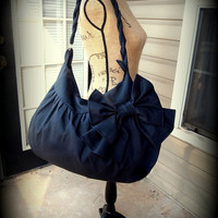 Handmade bow purse hobo bag Color variations with braided strap large pockets- Large pocket