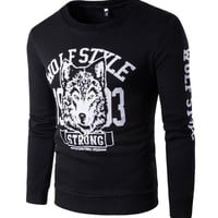 Round-neck Hot Sale Men's Fashion Men Print Stylish Long Sleeve Hoodies [10669399043]