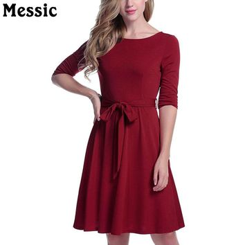Half Sleeve O Neck Knitted Dress Women Sashes Bow Tied Tunic Ladies Dresses Autumn Casual Midi A Line Robe