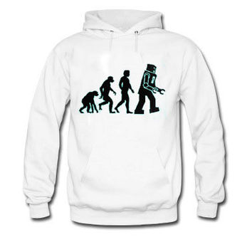 Robot Evolution Shirt -American Apparel Or 6oz Shirt-Screen Printed hoodie trendis.