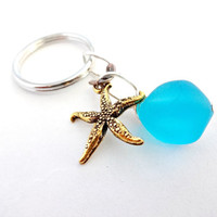 #Accessories #SeaGlass #KeyChain #KeyRing #Aqua #Blue #Gift For Her