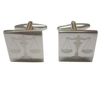 Silver Toned Etched Scale of Justice Law Cufflinks