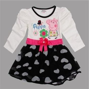 ac PEAPON children peppa pig embroidery waistband baby girl dress [8833597580]