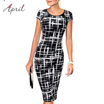 Summer Women Office Pencil Midi Dress Ladies Short Sleeve Print Bodycon Tunic Elegant Slim Dress Sheath Dresses for Work Wear