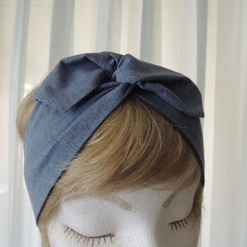 Wire Fabric Headband, Twist Scarf, Bandana, Twist Head Band, Hat Band,  Head Wrap, Dolly Bow, Hair Tie, Hair Band, Rockabilly, Denim Blue