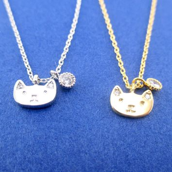 Tiny Kitten Kitty Cat Face Shaped Choker Necklace in Gold or Silver