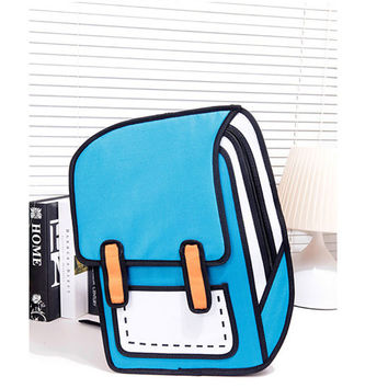 Cartoon Second Element Comic Canvas Backpack