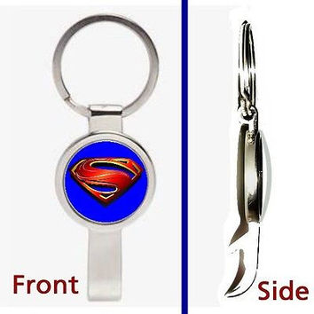 Superman Man Of Steel Pennant or Keychain silver tone secret bottle opener