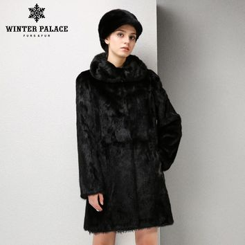 New Style Winter Warm mink coat for women, coats of natural mink brown mink fur coat with a hood