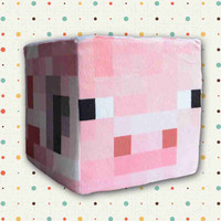 """New Arrive"" Minecraft Pink Pig Plush Pillow 20*20*20CM 1PCS In Stock!!"