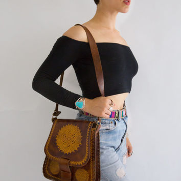 Vintage 1960's Tooled Leather Bohemian Shoulder Bag, Medium.