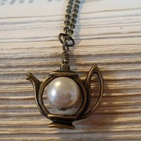 Alice's Teapot Brass Teapot Pearl Necklace by RhondasTreasures