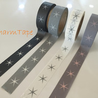 Festive Washi tape - Pink Star on Grey - 15mm Wide - 10meters  WT703