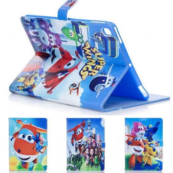 Fashion Cute cartoon Super Wings pu Leather Flip Stand holder Case cover for Apple ipad 2 3 4 ipad mini 1 ipad mini 2 3