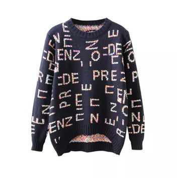 Women's Fashion Alphabet Round-neck Pullover Knit Tops Plus Size Long Sleeve Sweater [9456548932]