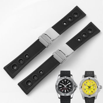 Watchband Bracelet Silicone Watch Band For Breitling Avenger SuperOcean Waterproof Rubber Watch Strap Sport 22mm 24mm Fold Clasp