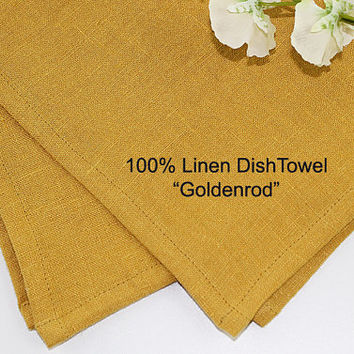 "Goldenrod Gold Linen Dish Towel, 100% Linen Dish Towel, Pure Linen Tea Towel, 16""x25"""