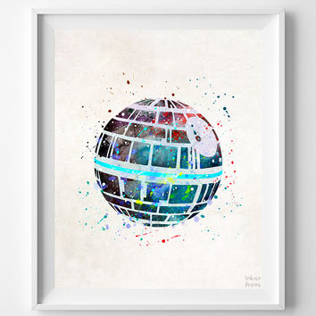 Star Wars Print, Death Star Watercolor, Kids Room Decor, Wall Poster, Office Wall Decor, Bedroom Art, Gifts, Arty Print, Halloween Decor
