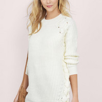 Lace Me In Oversized Sweater $68