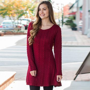 Long sleeve 8 color knit sweater dress