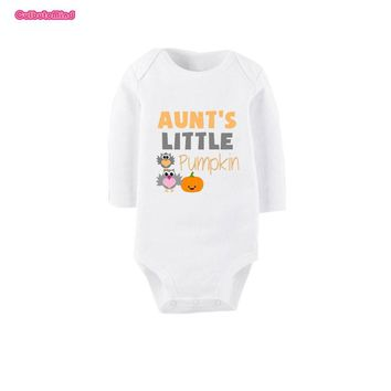 Culbutomind White Long Sleeve Cotton Newborn Gift Aunt Little Pumpkin Print Infant Toddler Baby Boy Girl Cotton Romper Jumpsu