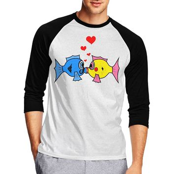 Cuihualili Beautiful Fishes Kiss Each Other Hearts Men's Plain Baseball Athletic 3/4 Sleeve T-shirt