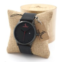 BOBO BIRD Multfunction Calendar Watch Wooden Watches for Men Japanese 2035 Movement Quartz Watches with Real Leather Band