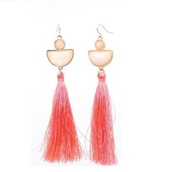 Fashion Pink Natural Stone Drop Earrings Cotton Thread Tassels Gold Color Brincos Pendientes Jewelry  Women