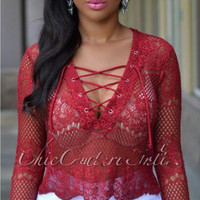 Lace Up V-Neck Sheer Lace Top