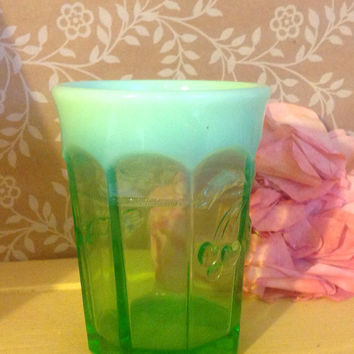 Vintage Green Glass Tumbler Cherry & Cable Pattern