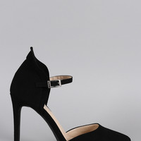 Anne Michelle Suede Ruffle Mary Jane Pump
