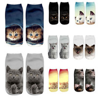 3D Cat Fashion Unisex Women Men School Casual Socks Cute Sock Harajuku Style