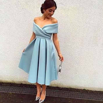 New Arrival Light Blue Cocktail Dress Off The Shoulder Tea Length Short Party Prom Dresses High Quality Formal Dress