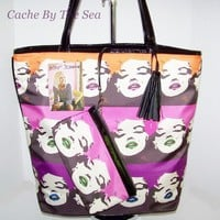 Betsey Johnson Babe Marilyn Monroe Face Wink Purple Shopper Tote