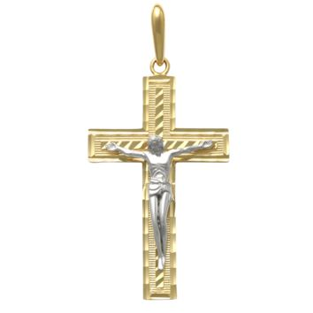 Jesus on Cross Religious Pendant in 14k Gold