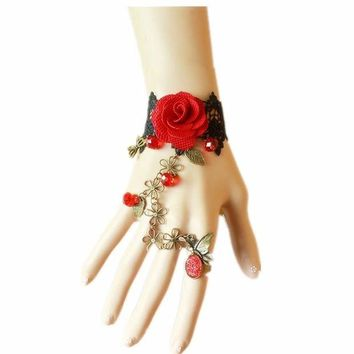DCCKV2S Lefinis Handmade Gothic Lolita Retro Lace Slave Bracelet Ring Set Red Rose Flowers Wristband