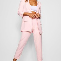 Wide Buckle Belt Straight Tapered Trouser | Boohoo