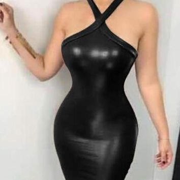 New Black PU Leather Cut Out Halter Neck Backless Bodycon Latex Rubber Mini Dress
