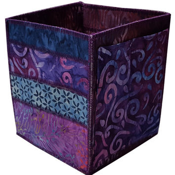 Home Storage Organizer Pencil Box in Purple and Blue Batik